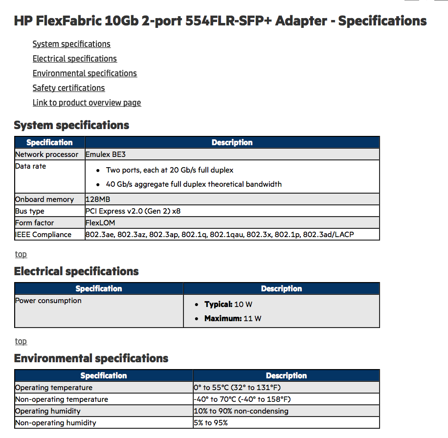 HP FlexFabric 10Gb 2-port 554FLR-SFP+ Adapter - Specifications